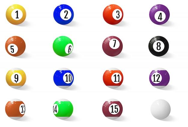数字付きのビリヤード、プール、スヌーカーのボール。