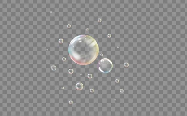 リアルな透明色の石鹸または水の泡