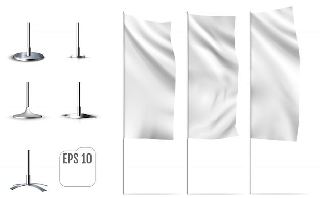 白い旗の旗。バナーフラグの現実的なモックアップ。