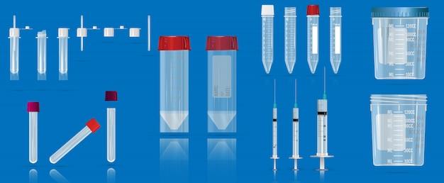 一般的な尿の臨床分析用の血液、真空容器、注射器、容器用の空のチューブ