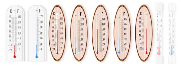 Векторный набор реалистичных жидких термометров