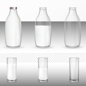 Стаканы и бутылки, молоко.