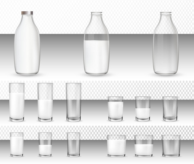 Набор реалистичных стаканов и бутылок с молоком.