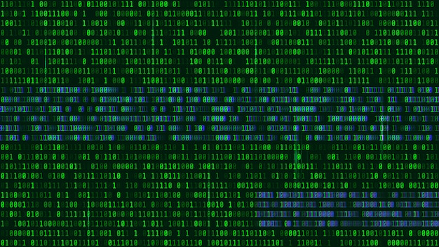 コンピュータ画面上のバイナリコード、緑色の数字。