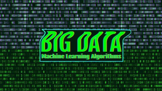 Двоичный код, зеленые цифры на экране компьютера. большие данные мачи