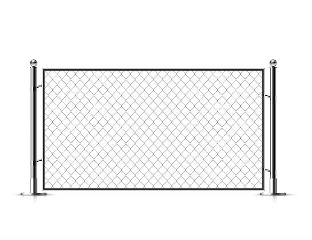 リアルなメタルチェーンリンクフェンス。