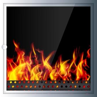 現代材料で作られた現代的なリアルなハイテク暖炉