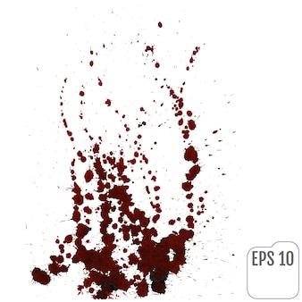 白い背景の上に飛び散った血の汚れ。ベクトルイラスト