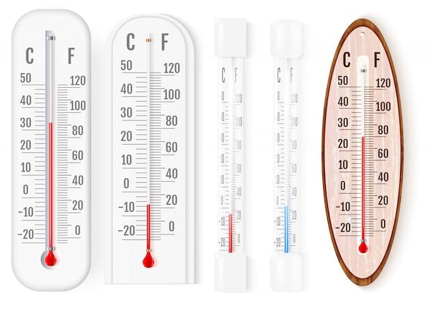 屋外と屋内の華氏と摂氏の温度計