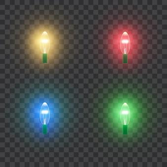 クリスマス休暇のカラフルな光のランプ。レトロなスタイル。