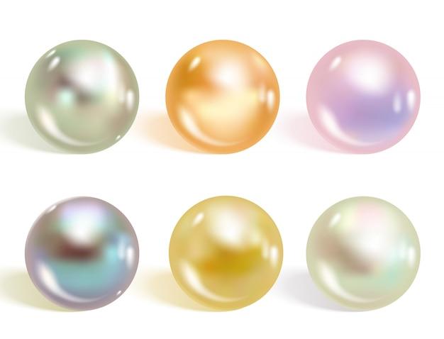 Реалистичные разные цвета жемчуг набор.