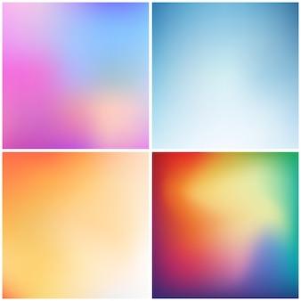 抽象的な色とりどりのグラデーション正方形バナーセット