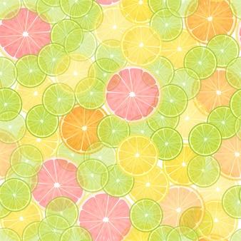 カラフルな柑橘類レモンシームレスパターン。