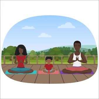 街で瞑想している多民族の家族のイラスト。