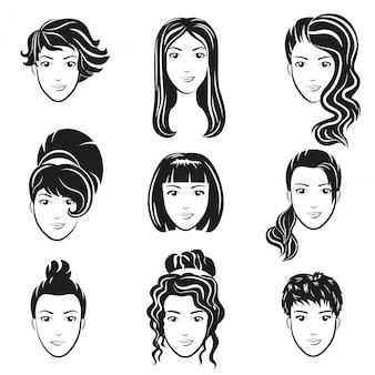 女性アバターのヘアスタイルのセット様式化されたロゴを設定します。女性の髪型アイコンエンブレム。