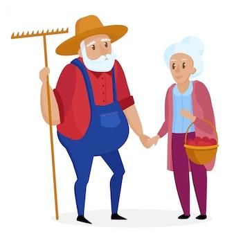 彼の妻と昔の農家。老夫婦。シニアおじいちゃんとおばあちゃんが立っています。ベクトル漫画の実例。