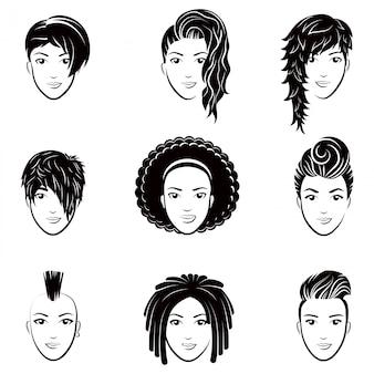 Векторный набор стилизованного логотипа с красивыми прическами женщин. модная стильная коллекция модных причесок.