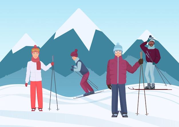 Группа людей катается на лыжах в горах