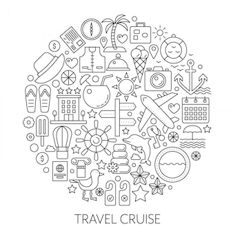 旅行クルーズ細い線ベクトルの概念