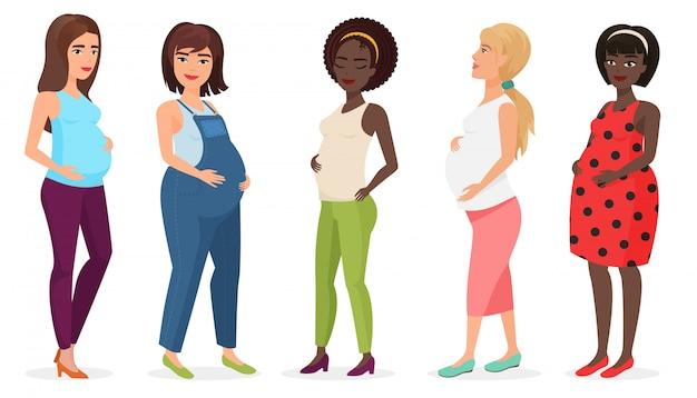 Беременная мода установлена. счастливая женщина мама ждет ребенка в платьях.