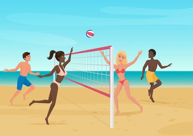 ビーチのイラストでバレーボールを楽しんでいる人。アクティブシービーチスポーツ。