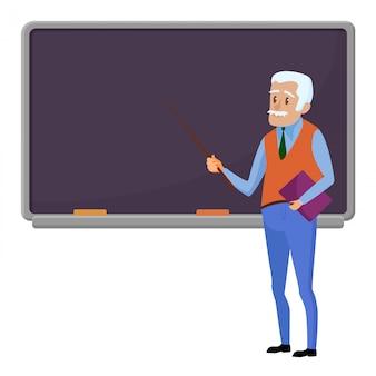 Старший преподаватель профессор стоит возле доски в классе в школе
