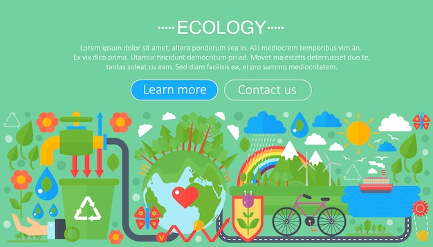 Плоская инфографика понятие экологии