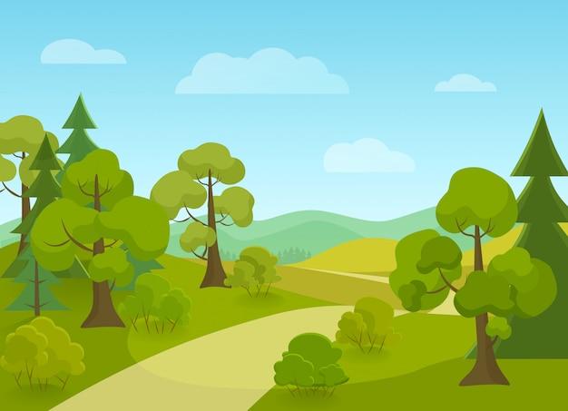 村の道と木々のある自然の風景