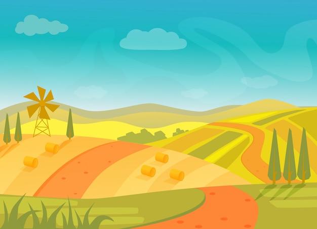 Сельский красивый деревенский пейзаж с горами и холмами