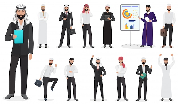 Арабский бизнесмен мужчина характер позы