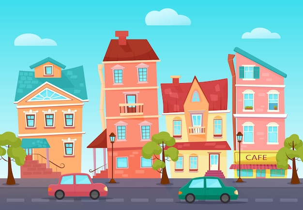ショップとカラフルな街のベクトル漫画かわいい通り。