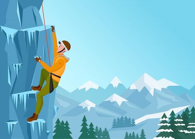 ロッククライミングの男。氷の岩の上の男性。冬の極端なアウトドアスポーツ。ベクトルイラスト。