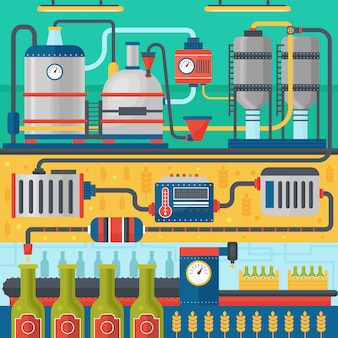 ビール醸造所の生産プロセス。工場ビール。フラットなデザインのベクトル図。