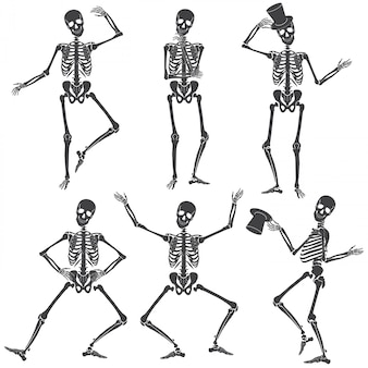 Танцующие скелеты. различные скелет позы изолированы.