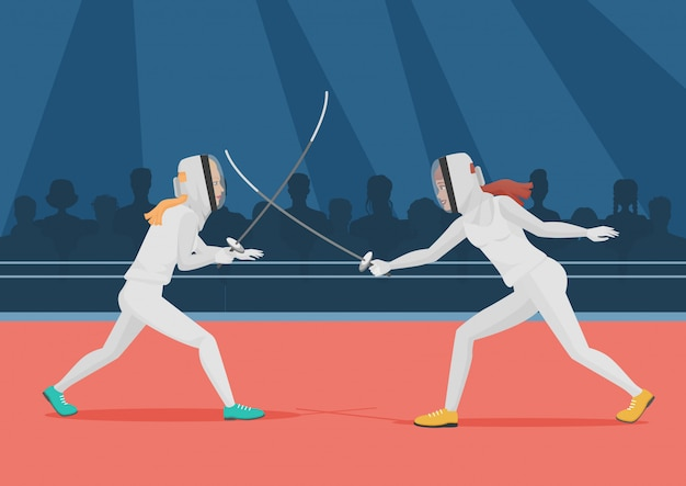 Два человека занимаются фехтованием. чемпионат по фехтованию векторные иллюстрации.