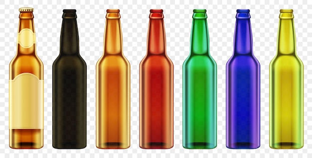分離されたベクトルビール瓶色ガラス。現実的なボトルセットで包装。