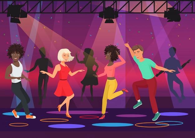 ディスコクラブの夜のパーティーでカラフルなスポットライトで踊る若い多民族の人々のカップル。漫画のベクトル図