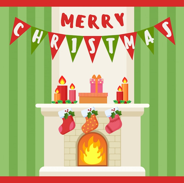 Иллюстрация рождеством украшения и носки у камина