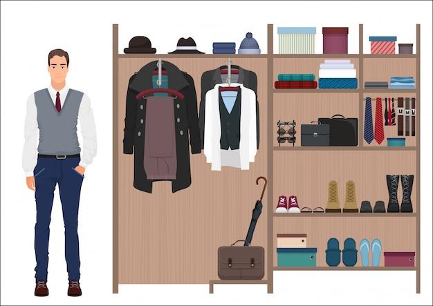 スタイリッシュなファッション男性と男性用ワードローブのコンセプト