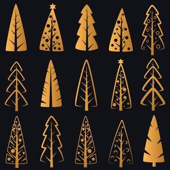 Роскошные богатые декоративные золотые елки на синем фоне