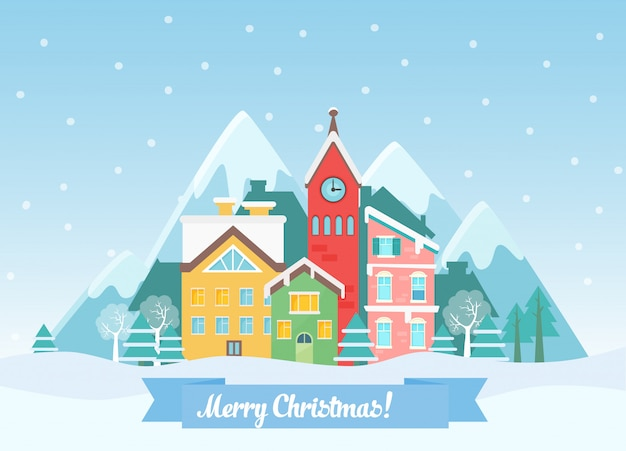 Зимний рождественский городской пейзаж возле гор в плоском стиле, рождественская открытка
