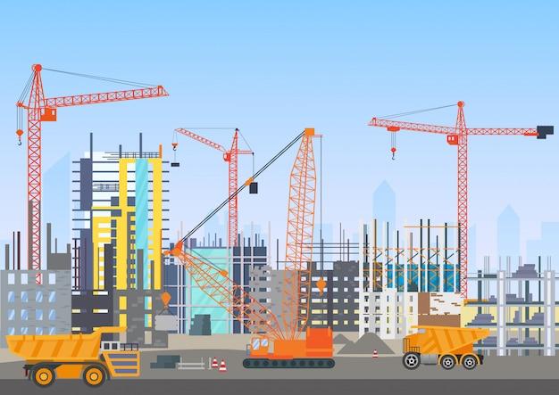 タワークレーンと建設建築のウェブサイトの下で街のスカイラインを構築します。