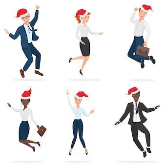 公式の営業所は、ジャンプ、ダンス、楽しいクリスマスの赤い帽子の男性と女性に適しています。
