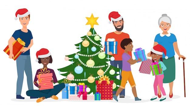 大きな幸せな家族が一緒にクリスマスツリーを飾ります。ベクトルイラスト。