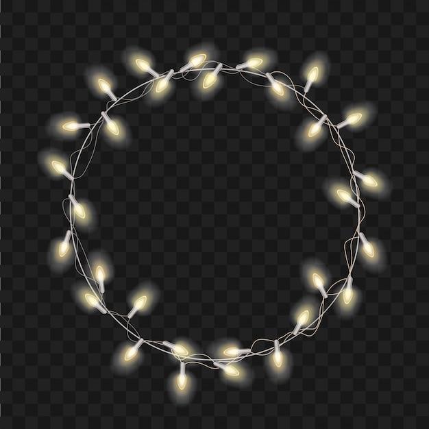 Рождественский трансперант с яркими реалистичными современными венок-гирляндами. рождественские мягкие светящиеся огни. счастливого рождества надписи этикетка.