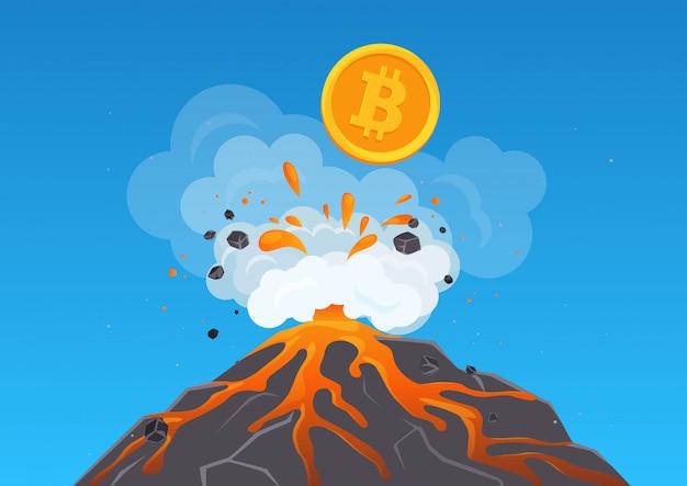 溶岩のある火山から痙攣するビットコイン暗号通貨のイラスト。ビットコインは急速に成長しています。