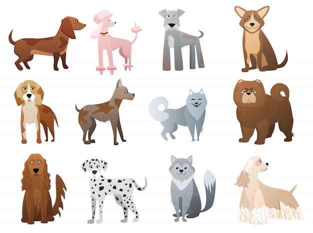 Смешные и милые персонажи из мультфильмов собак и щенков.