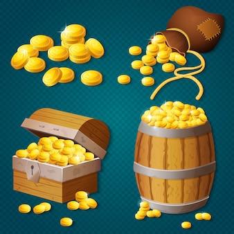 Старый деревянный сундук, бочка, старая сумка с золотыми монетами. игра стиль сокровище векторные иллюстрации.