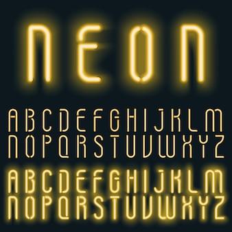 ネオンゴールデンイエローライトアルファベットフォント。輝くテキスト効果。暗い背景にネオン管文字。