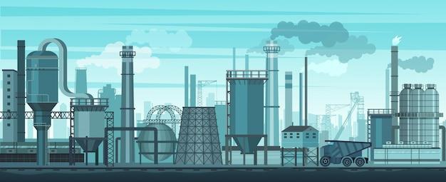 Индустриальный пейзаж фона. промышленность, фабрика и производство. проблема загрязнения окружающей среды.